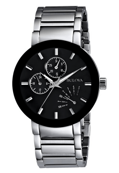 Bulova Men's 96C105 Black Dial Bracelet Watch