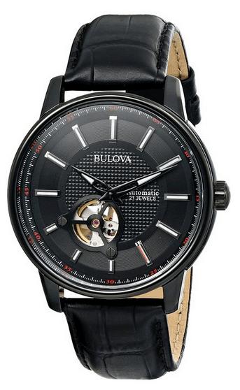 Bulova Men's 98A139 Automatic Analog Display Japanese Quartz Black Watch