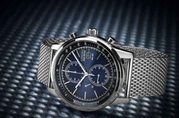 Citizen CA0331-56L Eco-Drive Silver Tone blue faced watch