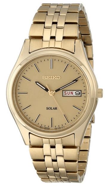 Seiko Men's SNE036 Gold Solar Watch