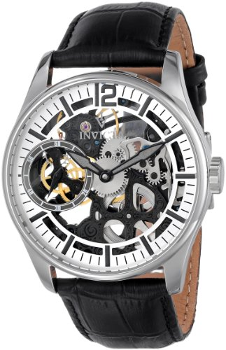 Invicta Men's 12403 Vintage-Inpsired Stainless Steel Watch with Embossed Leather Band