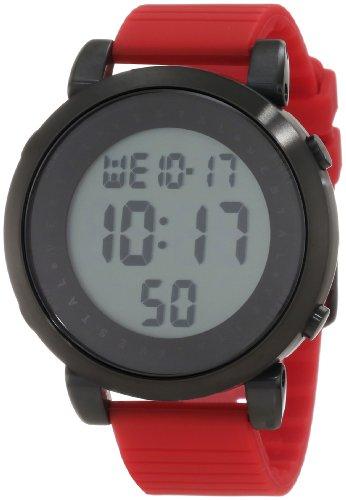 Vestal Men's Digital Doppler Rubber Stainless Steel Japanese-Quartz Silicone Strap, red, 22 Casual Watch (Model: DDDS03)