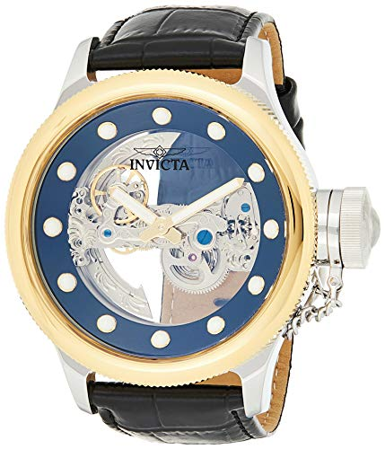 Invicta Men's Russian Diver Stainless Steel Automatic-self-Wind Watch with Leather Calfskin Strap, Black, 25.5 (Model: 24594)