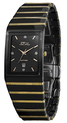 Daniel Steiger Cobra Luxury Black and Gold Men's Watch with Precision Movement, Sapphire Crystal and Crystal Indices