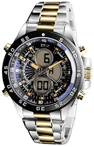 Daniel Steiger Lazer Blue Two-Tone Analog Digital Multi-Function Hybrid Watch - Day Date Month Digital Calendar with Alarm Function - Split Second Digital Chronograph - Luxury Presentation Case