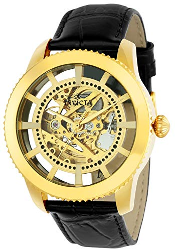 Invicta Men's 'Vintage' Automatic Stainless Steel and Leather Casual Watch, Color:Black/Gold  (Model: 22571)
