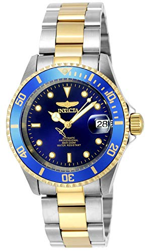 Invicta Men's Pro Diver 40mm Steel and Gold Tone Stainless Steel Automatic Watch with Coin Edge Beze;, Two Tone/Blue (Model: 8928OB)