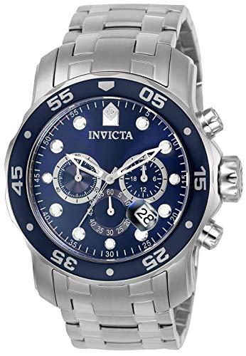 Invicta Men's Pro Diver Scuba 48mm Stainless Steel Chronograph Quartz Watch, Silver/Blue (Model: 0070)