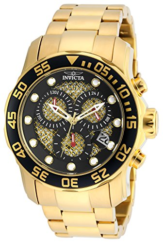 Invicta Men's 19837 Pro Diver 18k Gold Ion-Plated Stainless Steel Watch